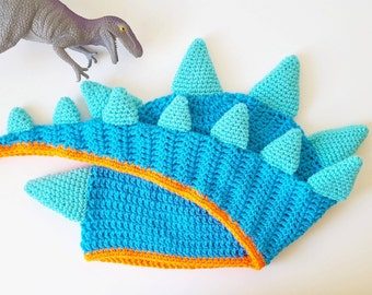 Adult Dinosaur Hat crochet with Spikes and Long Tail, size, geeky gift, dinosaur gift, paleontologist, custom colour options, Made to order