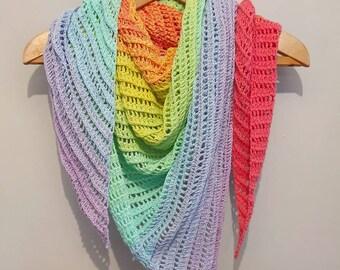 Rainbow scarf pastels, rainbow shawl, pastel rainbow, triangle scarf, shawl, cover up, feeding cover, 100% cotton *PRE ORDER*