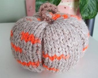 Orange and beige knitted pumpkin, medium size