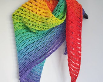 Cotton rainbow scarf in brights, hand crocheted. Triangle scarf, shawl, bandana, wrap, cover up *Pre order*