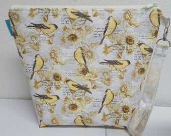 Made to Order, Project Bag, Knitting, Crochet,  Zippered Wide Mouth, Goldfinch, Cosmetic Bag, Handmade