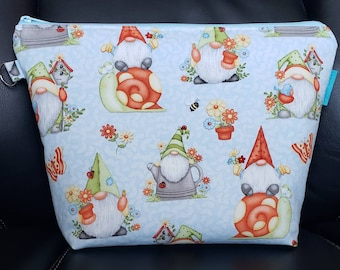 READY TO SHIP, Garden Gnomes, Project Bag, Knitting, Crochet,  Zippered Wide Mouth, Cosmetic Bag, Handmade