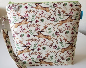 MADE TO ORDER, Fabled Rabbit, Project Bag, Knitting, Crochet,  Zippered Wide Mouth, Cosmetic Bag, Handmade