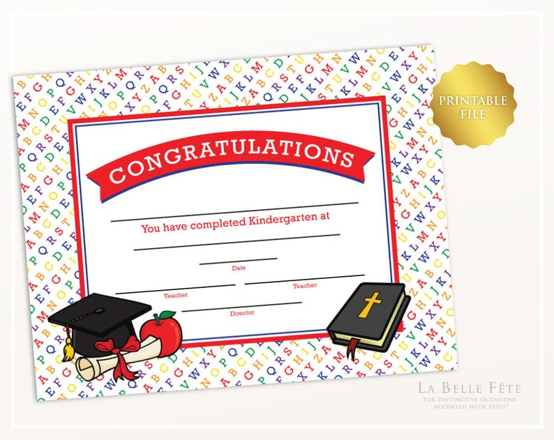 image regarding Printable Graduation Certificate known as CONGRATULATIONS Kindergarten Printable Commencement Certification key rainbow colours alphabet graduate cap degree apple Bible
