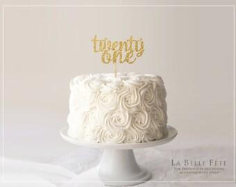 TWENTY ONE gold glitter cake topper