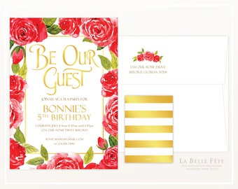 BEAUTY and the BEAST Be Our Guest Enchanted Rose Birthday Tea Party invitation with watercolor roses and gold and stripes