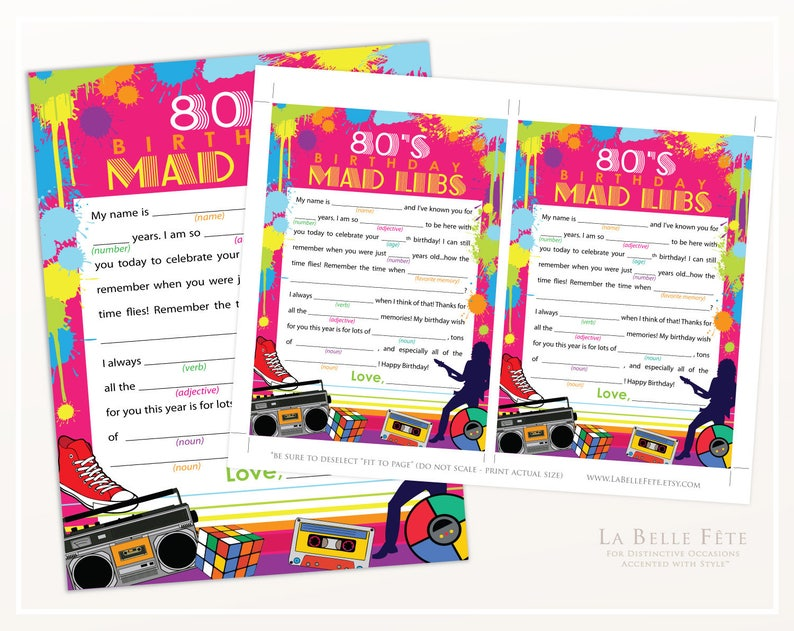 photo about Happy Birthday Mad Libs Printable known as 80s BIRTHDAY Bash Insane Libs Video game / printable Do it yourself bash match