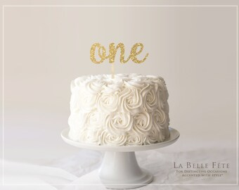 ONE / First Birthday Party Smash Cake Topper in Gold Glitter