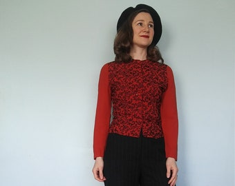 1940s red rayon crepe blouse with black soutache // small
