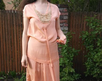 1920s peach silk + lace dress with a tie + waist tie + pin tucks // small or medium