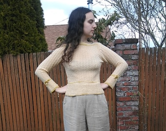 1960s pale yellow boatneck sweater