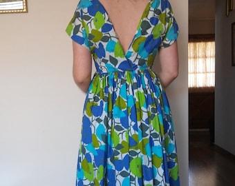 1950s 1960s backless floral full skirted dress