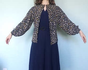 1930s floral print rayon crepe open blouse or jacket // osfm