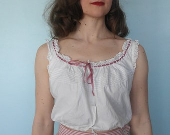1900s 1910s cotton pintucked corset cover // xs