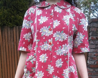 1940s daisy print cotton smock blouse // large or XL