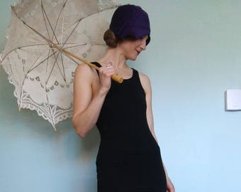 1920s black wool swimsuit by Travelo // xs