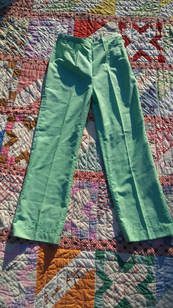 1960s 1970s green bell bottoms