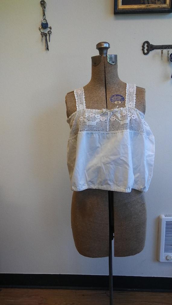 1910s 1920s cotton crop top corset cover // medium