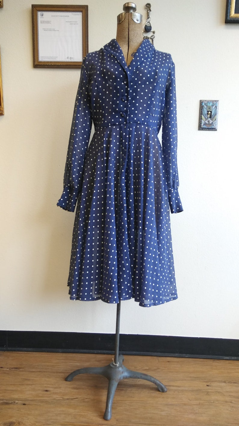 e42a0151e66 1970s does 1950s polka dot sheer circle skirt shirt dress