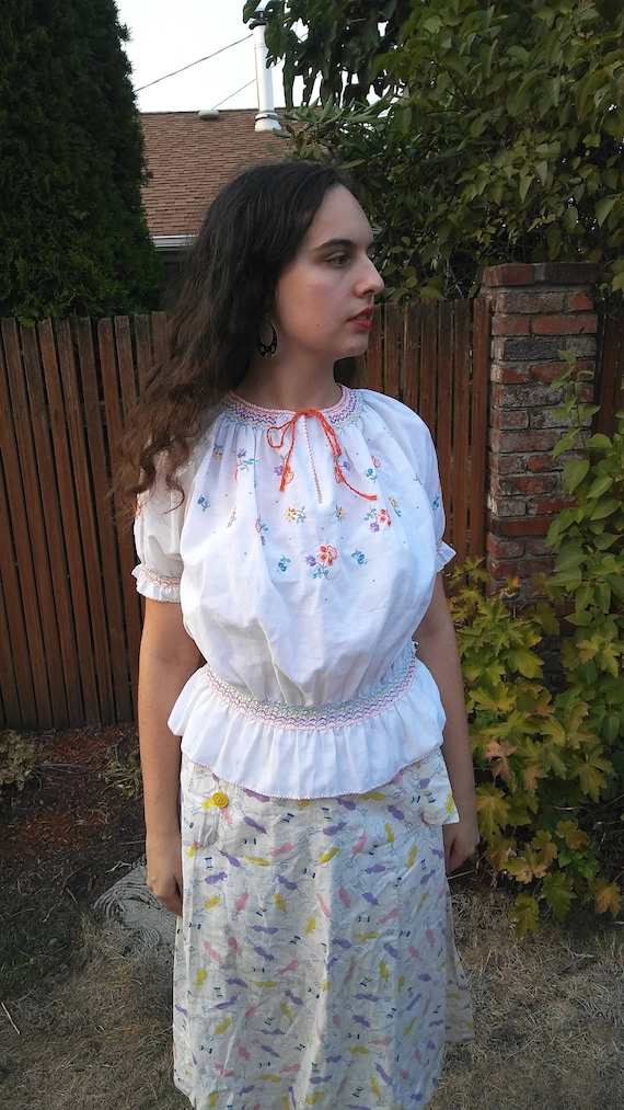 1970s does 1930s white embroidered peasant blouse