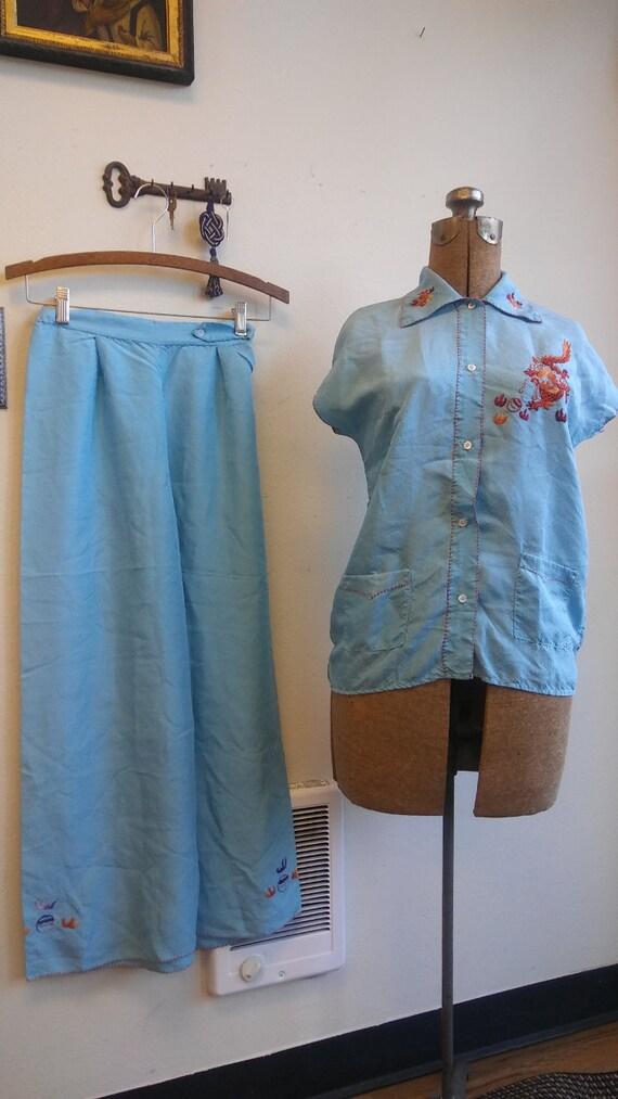 1930s 1940s Chinese blue silk lounge pajamas // xs