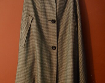 1950s 1960s Wool Houndstooth Check Rainbraiker Cape - osfm