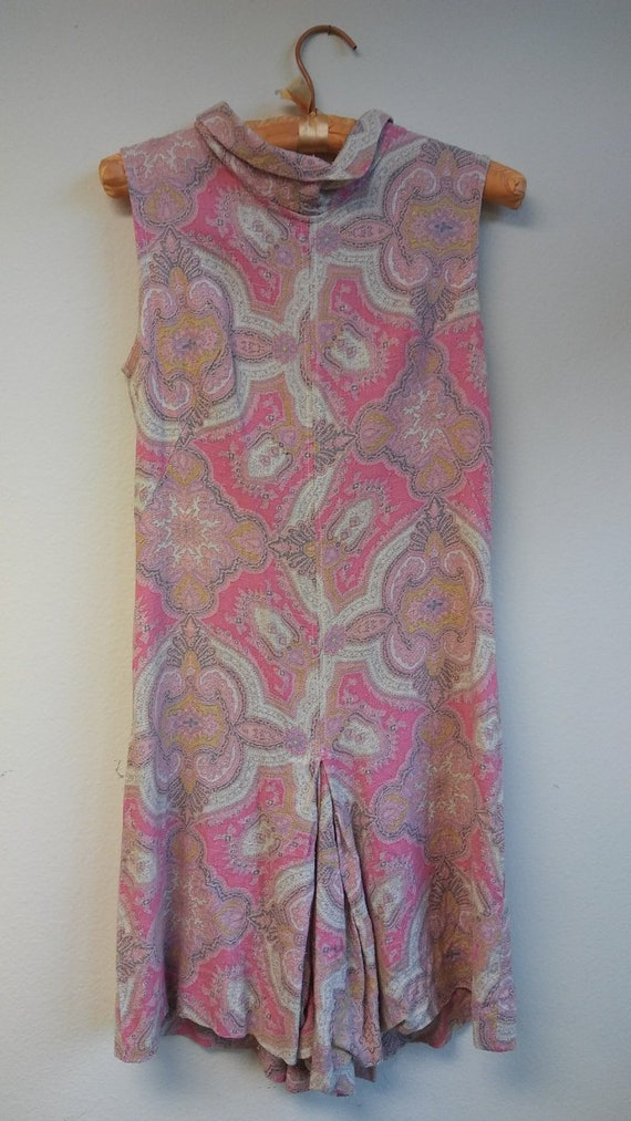1960s pink + white paisley linen romper // xs