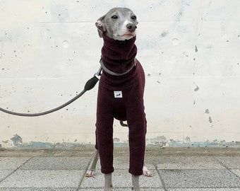 Italian Greyhound Clothing, Fleece Jammies,Jumpsuit,Romper,Onesie [Burgundy]