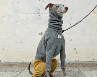 Italian Greyhound Clothing, Fleece Jammies,Jumpsuit,Romper,Onesie,Bi-Color [Gray/Mustard]