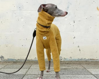 Italian Greyhound Clothing, Fleece Jammies,Jumpsuit,Romper,Onesie [Mustard]