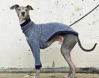 Italian Greyhound Clothing, Salt-And-Pepper Half Neck T-shirt [NAVY]