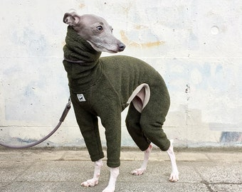 Italian Greyhound Clothing, Fleece Jammies,Jumpsuit,Romper,Onesie [Dark Green]