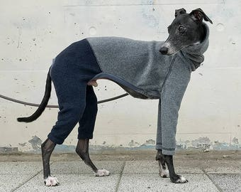 Italian Greyhound Clothing, Fleece Jammies,Jumpsuit,Romper,Onesie,Bi-Color [Gray/Dark Navy]