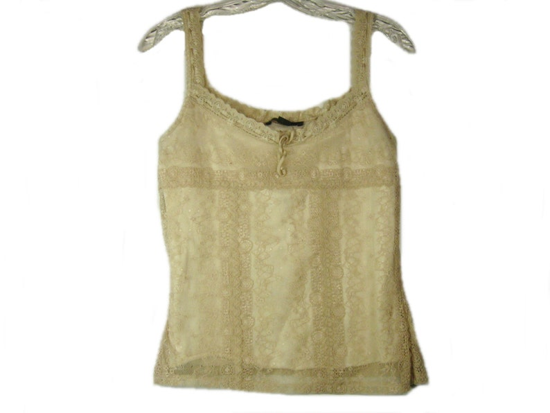 e88b51c68db85 Vintage Lace Tank Top Beige Camisole Cami Crop Top Summer Wear