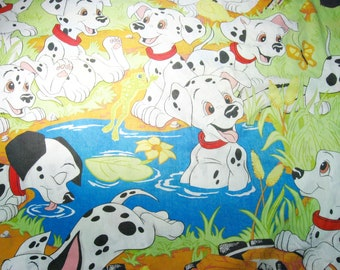 Vintage Disney 101 Dalmatian Double Fitted Sheet, Vintage Bed Sheet