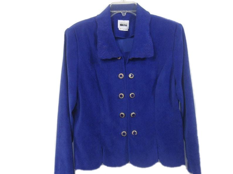 Vintage Double Breasted Women Blazer Jacket Size 14 Leslie Fay