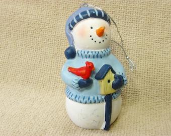 Vintage Ceramic Snowman Ornament, Christmas Tree Decor