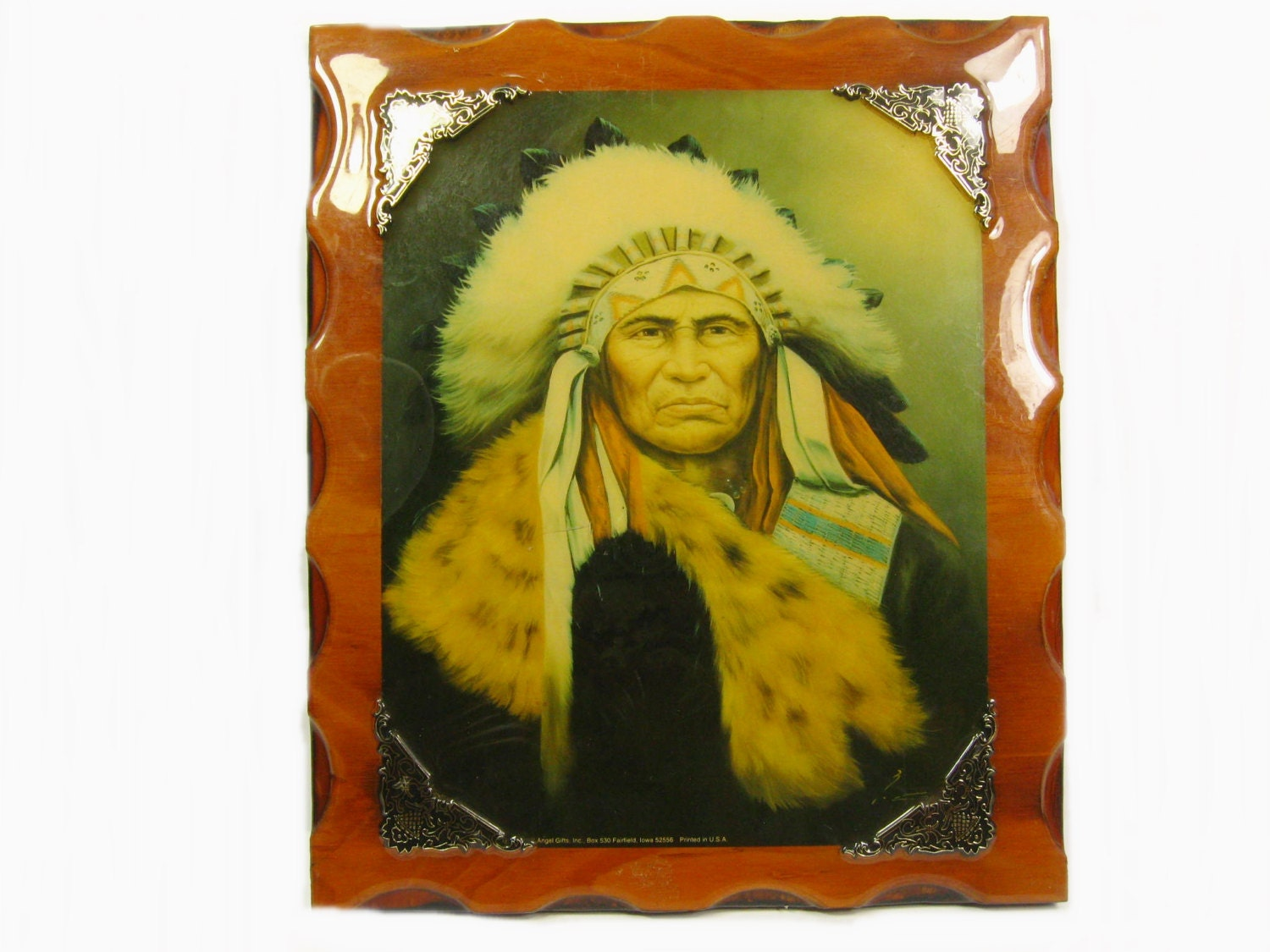 Vintage Native American Indian Portrait on Lacquered Wood Wall   Etsy