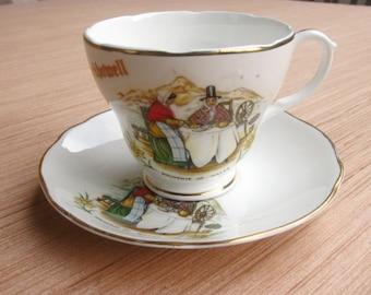 Crickhowell Tea Cup and Saucer, Teacup, Tea Party, Fine Bone China, Souvenir of Wales