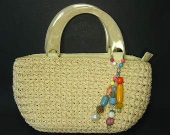 Vintage Cappelli Straw Purse, Straw Handbag, Summer Bag, Lucite Handles, Colorful Beads