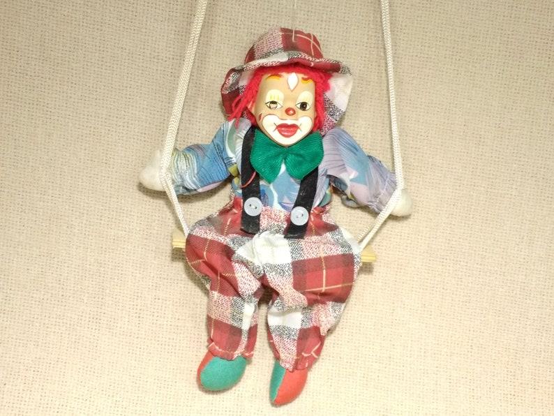 A Fils Marionnette Clown Tete Et Pieds En Porcelaine