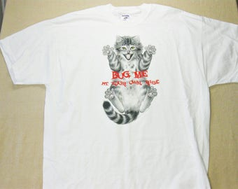 Vintage Cat T-Shirt, Cat Shirt, Gift for Cat Lovers, Animal T-Shirt White Size XL, Bug Me At Your Own Risk