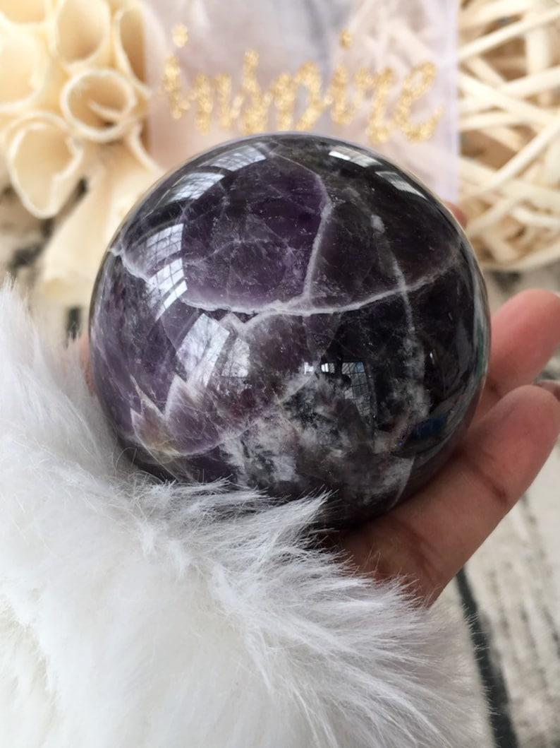 Dream Amethyst Crown Chakra Sphere Chevron Amethyst Sphere Crystal Shop Amethyst Crystal Sphere Whimsical Amethyst Sphere With Rainbows