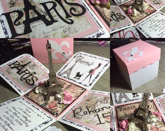 1 Paris Eiffel Tower Exploding Box Invitation Set