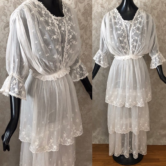 Antique Edwardian Embroidered Tiered Cotton Dress… - image 2