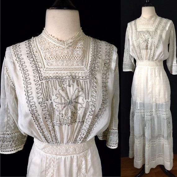 Antique Edwardian Lace Embroidered Dress, Lingerie