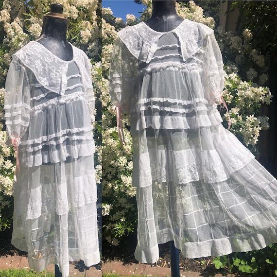 Antique Edwardian Girls Mixed Lace Net Dress Ruffl