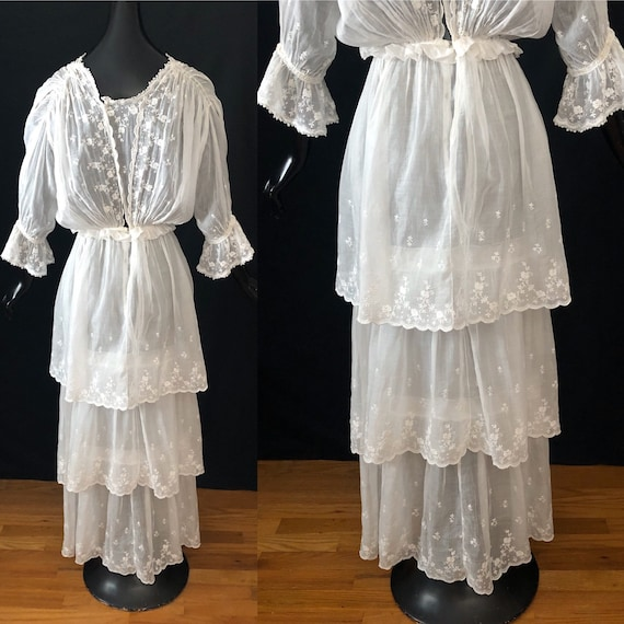 Antique Edwardian Embroidered Tiered Cotton Dress… - image 6