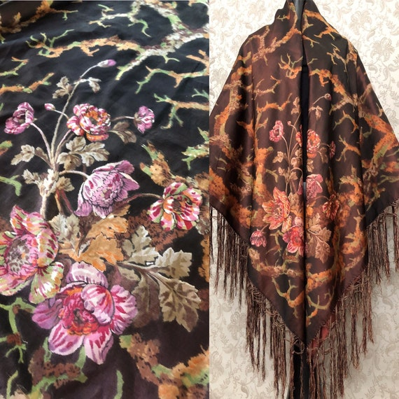 Antique 1800's Silk Chine Shawl, Bedcover, Piano S