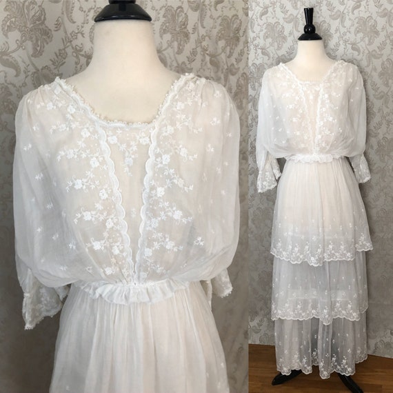 Antique Edwardian Embroidered Tiered Cotton Dress… - image 3